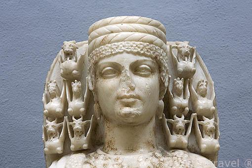 Rostro de Artemisa Efesia, protegia a las mujeres embarazadas, Diosa de la abundacia y la fertilidad. Museo de EFESO / EPHESUS.Costa del mar Egeo. Turquia