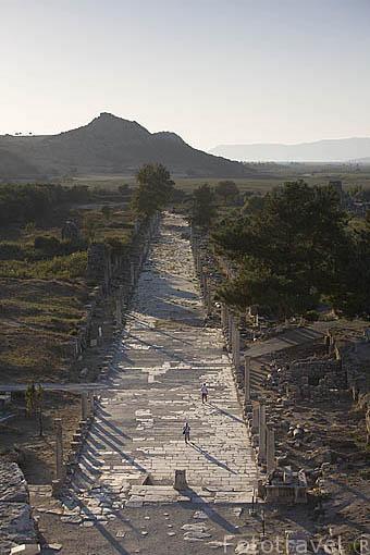 Via de Curetes a la altura del teatro romano. Ruinas de EFESO / EPHESUS. Egeo. Turquia
