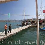 Chicos en el muelle pescando. Pueblo pesquero de KEKOVA. Provincia de Antalya. Turquia