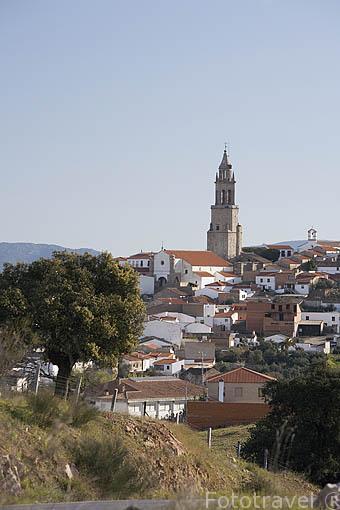 La torre del campanario de El Salvador domina por encima de la población de PEDROCHE. Comarca de Los Pedroches. Cordoba. España