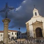 Ermita de San Roque con sus esquinas con sillares de granito. Poblacion de DOS TORRES. Gentilicio: Usias. Comarca de Los Pedroches. Cordoba. Andalucia. España