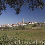 Cercado tipico de piedra y al fondo el pueblo de PEDROCHE. Comarca de Los Pedroches. Cordoba. Andalucia. España