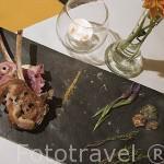 Plato de Cabrito en la primavera de Benalcazar, restaurante La Bolera. Poblacion de BELALCAZAR. Comarca de Los Pedroches. Cordoba. España