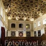 Yeserias y artesonado mudejar en el Paraninfo. Aqui se entrega anualmente el Premio Cervantes de Literatura. ALCALA DE HENARES. Ciudad patrimonio Unesco. Madrid. España
