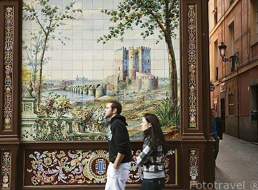 Azulejos en la fachada de Villa Rosa 17. Calle Nuñez de Arce. Zona de Huertas. Madrid capital. España