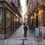 Azulejos en la fachada de Villa Rosa 17 y a la der. La Fragua de Vulcano. Calle Nuñez de Arce. Zona de Huertas. Madrid capital. España