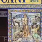 Azulejos en la fachada del Bar España Cañi. Plaza del Angel. Zona de Huertas. Madrid capital. España