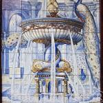Detalle de un azulejo. Fachada de la taberna La Fontana de Oro. Calle de la Victoria. Zona de Huertas. Madrid capital. España