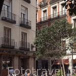 Terrazas en la plaza de Matute. Barrio de Huertas. Madrid. España