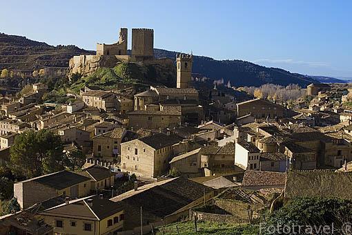 Vista del pueblo de UNCASTILLO. Zaragoza. Aragon. España