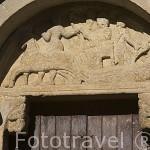 Portada de la iglesia de San Felices. (Romanico, S.XII). Pueblo de UNCASTILLO. Zaragoza. Aragon. España