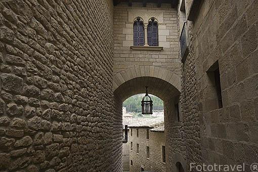 Vista de la casa señorial Casa Lopez. Pueblo de UNCASTILLO. Zaragoza. Aragon. España
