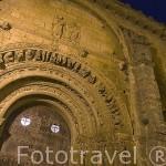 Portada de la iglesia de Santa Maria, romanico, s.XII. Pueblo de UNCASTILLO. Zaragoza. Aragon. España