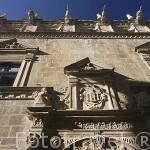 Fachada del edificio del Ayuntamiento, antigua carcel. Pueblo de UNCASTILLO. Zaragoza. Aragon. España
