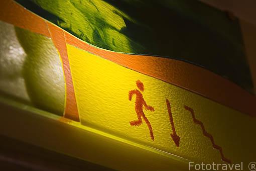 Detalle del letrero iluminado de una habitacion. Casa rural El Remedio. UNCASTILLO. Zaragoza. Aragon. España