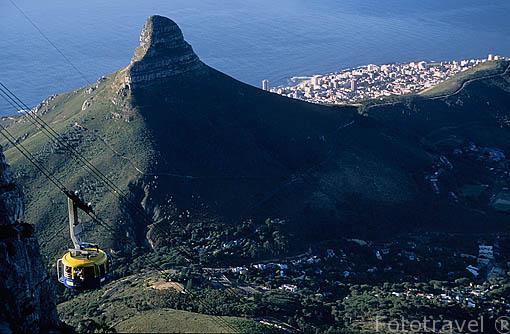 """A la izquierda la montaña de """"Lion´s head"""", detrás la zona de """"Sea Point"""" y a la derecha la ciudad de CIUDAD EL CABO. En amarillo el telecable que sube a """"Table Mountain"""". Surafrica"""
