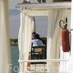 Cubierta del barco Bou El Mogdad. Desde Noviembre 2005 navega como barco turistico por el rio Senegal. Muelle de la ciudad de PODOR. Senegal